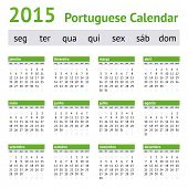 2015 Portuguese European Calendar. Week starts on Monday