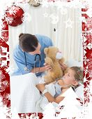 Doctor with teddy bear entertaining sick girl against christmas themed frame