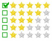 detailed illustration of a star rating system with checkbox at five stars, eps10 vector