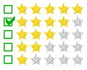 detailed illustration of a star rating system with checkbox at four stars, eps10 vector