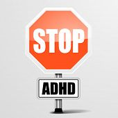 detailed illustration of a red stop ADHD sign, eps10 vector