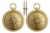old brass pocket compass realistic illustration isolated on white