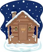 Illustration Featuring a Cabin With Roof Covered in Snow