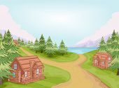 Illustration Featuring Log Cabins in a Village