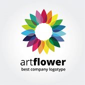 Abstract vector colored flower similar to sun logotype concept isolated on white background. Key ide