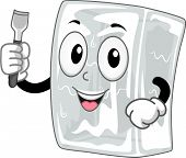 Mascot Illustration Featuring a Block of Ice Holding an Ice Chisel