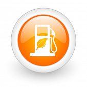 biofuel orange glossy web icon on white background