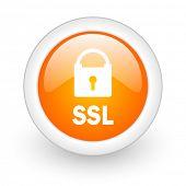 ssl orange glossy web icon on white background