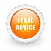 legal advice orange glossy web icon on white background