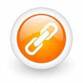 link orange glossy web icon on white background