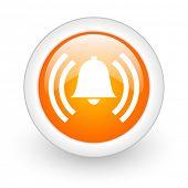 alarm orange glossy web icon on white background