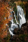 Detail of autumn waterfall with orange leaves
