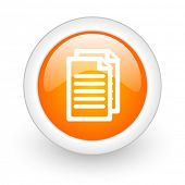 document orange glossy web icon on white background