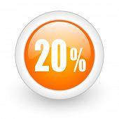 20 percent orange glossy web icon on white background