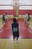 Team of female basketball players on a basketball court