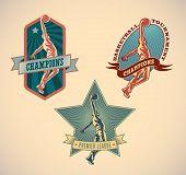 Set of retro styled basketball tournament labels. Editable vector illustration.