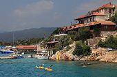Tourists Kayaking Near Kekova Island And Villages Kalekoy, Antalya, Turkey.