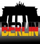 Brandenburg Gate Berlin reflected with German flag text vector illustration