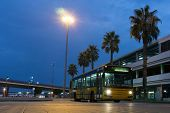 VALENCIA, SPAIN - SEPT 27, 2014: A Valencia city bus at the Valencia airport. The Valencia bus network serves 52 routes and is managed by the Valencian Metropolitan Transportation Company.