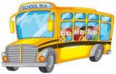 Illustration of many children on a school bus