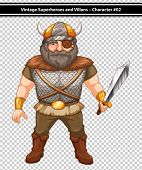 Illustration of a male viking with a sword