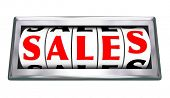 Sales word on 3d dials of a gauge or odometer to measure closed deals or agreements