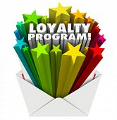 picture of loyalty  - Loyalty Program 3d words in colorful stars shooting out of an envelope mailer inviting you to participate in a reward points promotion - JPG