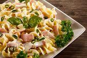 stock photo of carbonara  - Pasta carbonara and vegetables - JPG