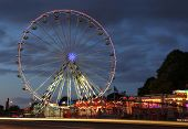 Riga, Latvia- September 27, 2014: Ferris wheel  at night. Located in the centre of Riga, Latvia on S