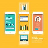 Vector Collection of Mobile Phones with User Interface and Infographic Elements. Modern Flat Style Design Templates Set.