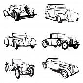 set of six monochrome retro cars
