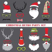 stock photo of christmas party  - Christmas Retro Party set  - JPG