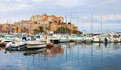 Calvi ,Corsica. View of marina with old citadel
