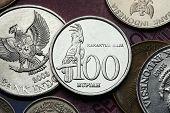 Coins of Indonesia. Palm cockatoo (Probosciger aterrimus) depicted in the Indonesian 100 rupiah coin.
