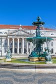 Lisbon, Portugal. August 31, 2014: Close-up on one of the two fountains of the Dom Pedro IV Square,
