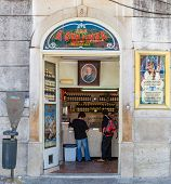 Lisbon, Portugal. August 31, 2014: A Ginginha, the oldest and most famous establishment in Lisbon dedicated to sell Ginginha, a type of Sour Cherry Brandy typical of the city