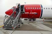 BUDAPEST, HUNGARY - JANUARY 25: Airliner of Norwegian air shuttle at Budapest Liszt Ferenc Airport, January 25th 2014. Norwegian is the third largest low-cost carrier in Europe