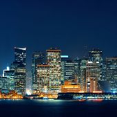 San Francisco city skyline with urban architectures at night.