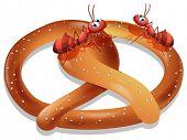 Illustration of ants eating pretzel