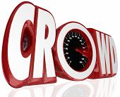 Crowd word in 3d letters and a speedometer to gauge the level of funding or sourcing for your project or campaign