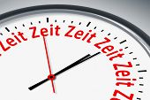 An image of a typical clock with text time time time... in german language