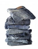 jeans collection close up isolated