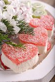 Sweets with flowers close up