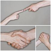 Collage of senior couple's hands in different situation