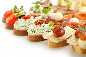 Cheese and Meat Canapes. Selective Focus