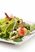 Chinese Cuisine - Tiger Shrimps Salad with Sliced Tomato and Sliced Vegetables