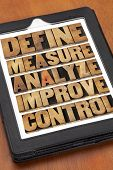 define, measure, analyze, improve, control - concept of continuous improvement process or cycle on a digital tablet