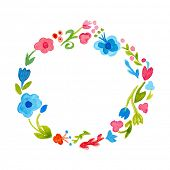 Watercolor Painted Wreath Flowers. Watercolor Floral Wreath. Floral Wreath. Vintage style vector illustration.