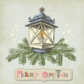 Vintage Christmas card, Christmas lamp and frame for text