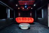 picture of basement  - View of red sofa in the basement - JPG